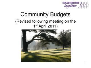 Community Budgets
