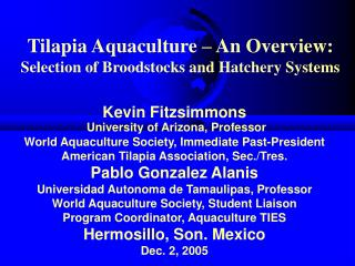 Tilapia Aquaculture   An Overview: Selection of Broodstocks and Hatchery Systems