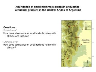 Questions : Spatial level How does abundance of small rodents relate with altitude and latitude?