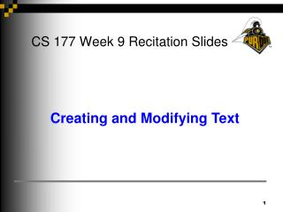 CS 177 Week 9 Recitation Slides