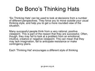 De Bono s Thinking Hats