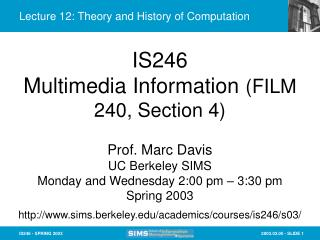 Lecture 12: Theory and History of Computation