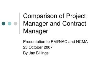 Comparison of Project Manager and Contract Manager
