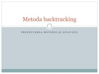 Metoda  backtracking