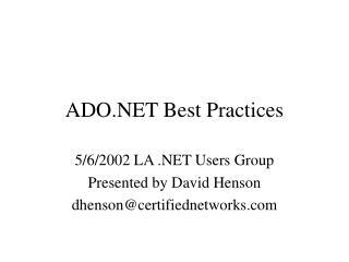 ADO.NET Best Practices