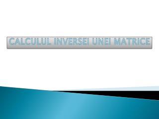 CALCULUL INVERSEI UNEI MATRICE