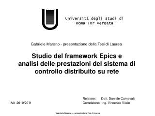 Gabriele Marano  –  presentazione Tesi di Laurea