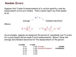 Random Errors