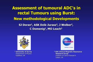 Assessment of tumoural ADC's in rectal Tumours using Burst: New methodological Developments