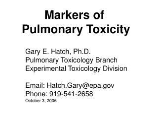 Markers of  Pulmonary Toxicity