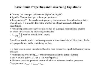 Basic Fluid Properties and Governing Equations