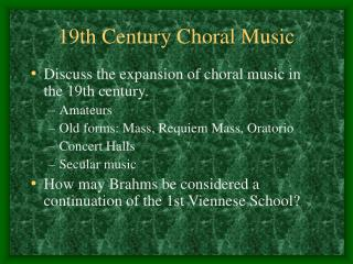 19th Century Choral Music