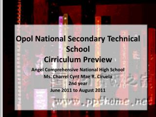 Opol  National Secondary Technical School Cirriculum  Preview