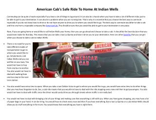 American Cab's Safe Ride To Home At Indian Wells