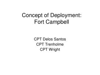 Concept of Deployment: Fort Campbell