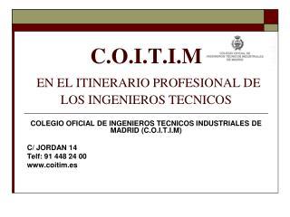 C.O.I.T.I.M EN EL ITINERARIO PROFESIONAL DE LOS INGENIEROS TECNICOS
