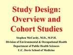 Study Design: Overview and Cohort Studies