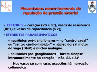 EFETORES  – coração (VS e FC), vasos de resistência (RPT) e vasos de capacitância (RV);