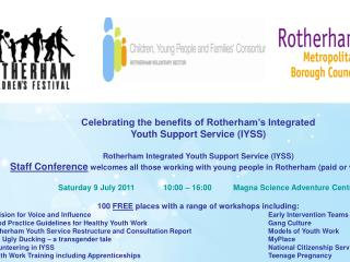 Celebrating the benefits of Rotherham�s Integrated Youth Support Service (IYSS)