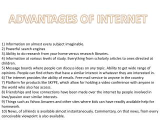 ADVANTAGES OF INTERNET