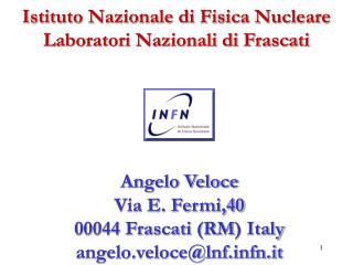 Istituto Nazionale di Fisica Nucleare Laboratori Nazionali di Frascati