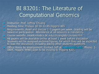 BI 83201: The Literature of Computational Genomics