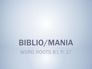 Biblio /mania