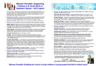 Mission Possible: Supporting Children's & Youth Work in  Southern Synod – 2013 report