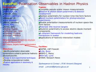 EuroPol: Polarisation Observables in Hadron Physics