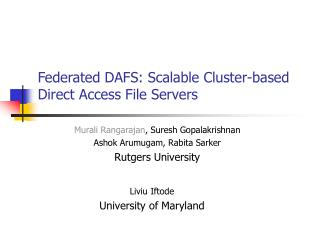 Federated DAFS: Scalable Cluster-based Direct Access File Servers