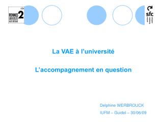 La VAE à l'université L'accompagnement en question
