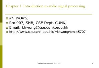 Chapter 1: Introduction to audio signal processing