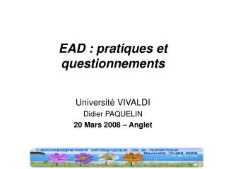 EAD : pratiques et questionnements