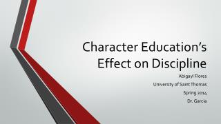 Character Education's Effect on Discipline