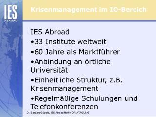 Krisenmanagement im IO-Bereich