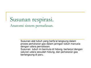 Susunan respirasi.  Anatomi  sistem pernafasan .