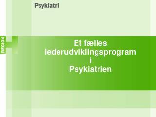 Et fælles lederudviklingsprogram i Psykiatrien