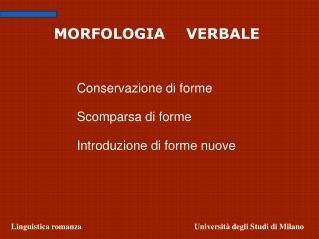 MORFOLOGIA   VERBALE