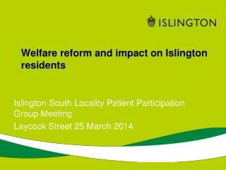 Welfare reform and impact on Islington residents