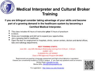 Medical  Interpreter and Cultural  Broker  Training