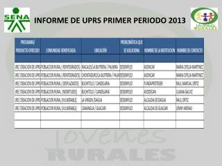 INFORME DE UPRS PRIMER PERIODO 2013