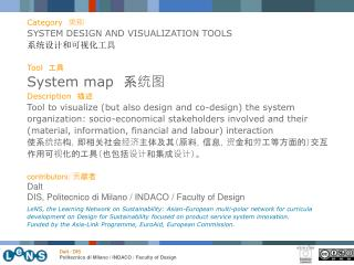 Category 类别 SYSTEM DESIGN AND VISUALIZATION TOOLS 系统设计和可视化工具 Tool 工具 System map 系统图 Description 描述