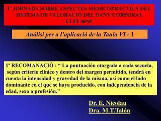 Iº JORNADA SOBRE ASPECTES MEDICOPRÀCTICS DEL SISTEMA DE VALORACIÓ DEL DANY CORPORAL LLEI 30/95