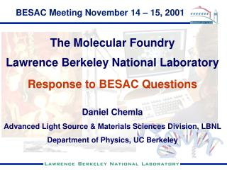 BESAC Meeting November 14  – 15, 2001
