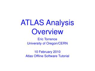 ATLAS Analysis Overview