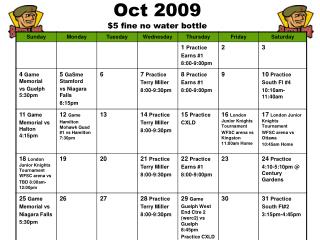 Oct 2009 $5 fine no water bottle