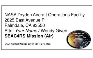 NASA Dryden Aircraft Operations Facility 2825 East Avenue P Palmdale, CA 93550