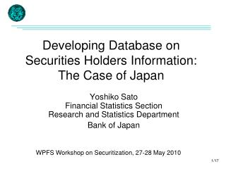 Developing Database on  Securities Holders Information: The Case of Japan