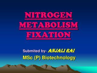 NITROGEN METABOLISM FIXATION
