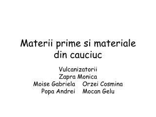 Materii prime si materiale din cauciuc
